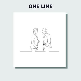 Ciągłe rysowanie linii biznesmenów stojących