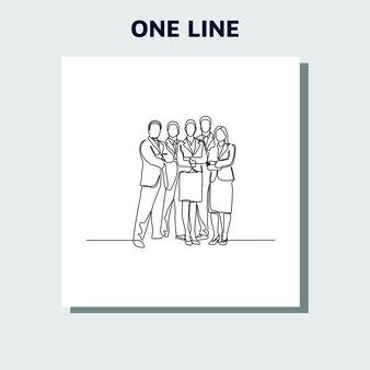 Ciągłe rysowanie linii grupy przedsiębiorców stojących