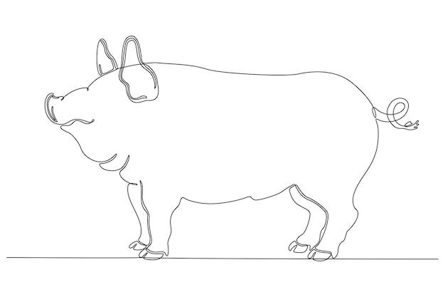 Ciągłe rysowanie linii ilustracji wektorowych świnia