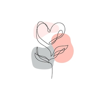 Ciągłe rysowanie linii. jednorzędowy kwiat w kształcie serca. nowoczesna sztuka liniowa na białym tle