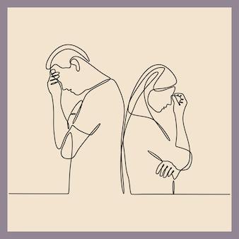 Ciągłe rysowanie linii mężczyzny i kobiety cierpiących na depresję w zakresie zdrowia psychicznego