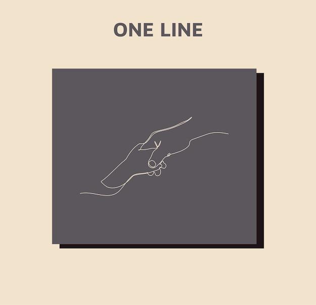 Ciągłe rysowanie linii. podaj pomocną dłoń. trzymaj mocno.