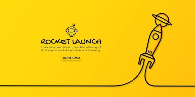 Ciągłe rysowanie linii rakieta startująca w kosmos na żółtym tle koncepcja uruchomienia biznesu