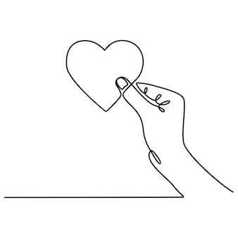 Ciągłe rysowanie linii ręka trzyma serce ilustracja wektorowa