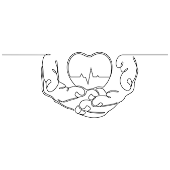 Ciągłe rysowanie linii ręka trzyma serce z ilustracji wektorowych koncepcja zdrowia linii ekg