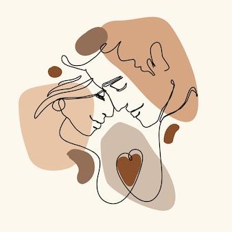 Ciągłe rysowanie linii szczęśliwej pary ilustracji