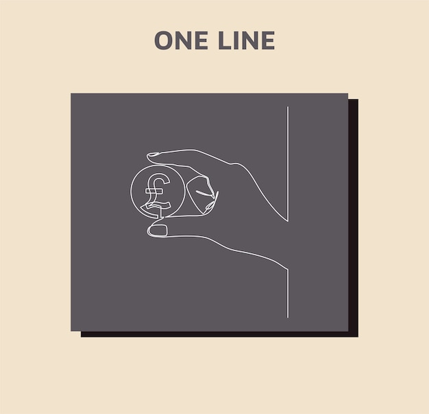 Ciągłe rysowanie linii waluty w obiegu funt szterling