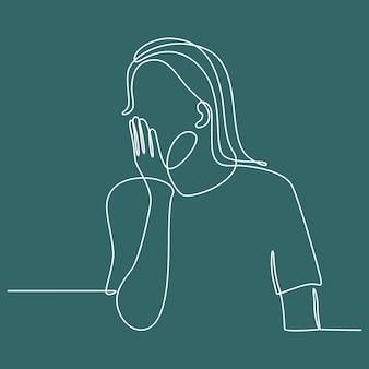 Ciągłe rysowanie linii zmęczona śpiąca młoda kobieta z zamkniętymi oczami ziewająca zakrywająca usta dłonią