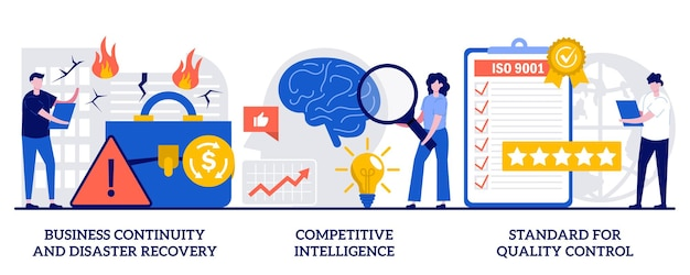 Ciągłość biznesowa i odzyskiwanie po awarii, konkurencyjna inteligencja, standard koncepcji kontroli jakości u małych ludzi. sukces firmy gwarantuje zestaw ilustracji streszczenie wektor.