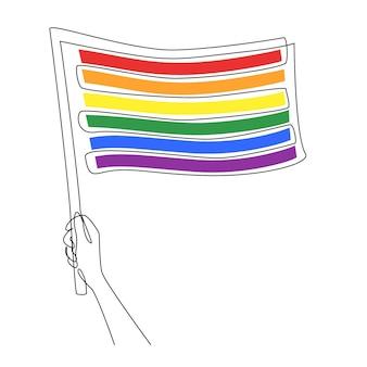 Ciągły jeden rysunek linii ręki trzymającej tęczową flagę lgbt na białym tle