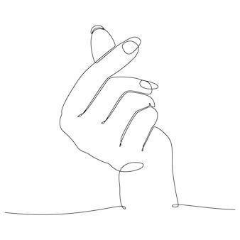 Ciągły rysowanie linii męskich i żeńskich rąk trzymających się romantycznej koncepcji wektora