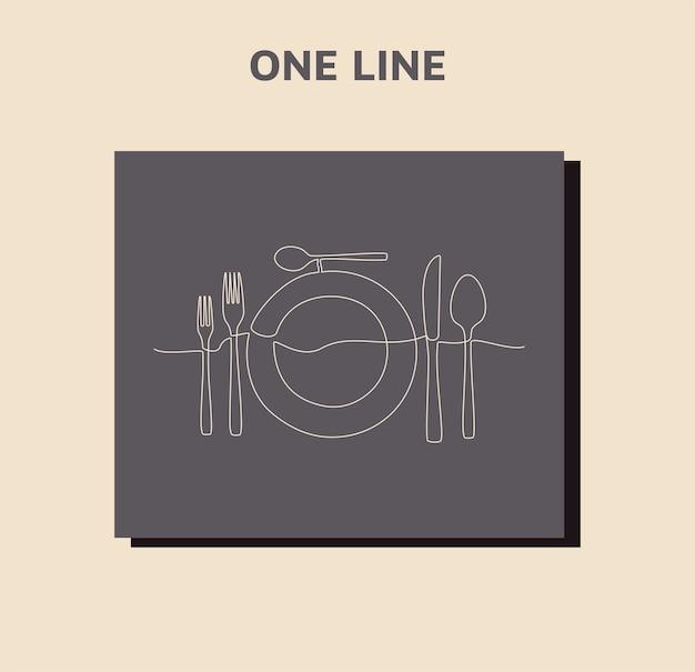 Ciągły rysunek jednej linii tabliczki z logo restauracji