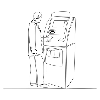Ciągły rysunek linii biznesmena robi transakcję z ilustracji wektorowych bankomatu
