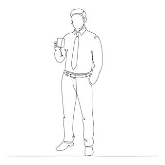 Ciągły rysunek linii biznesmena stojącego z filiżanką kawy wektor