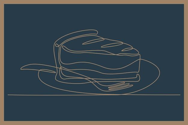 Ciągły rysunek linii ciasta kotletowego z ilustracją wektorową widelca