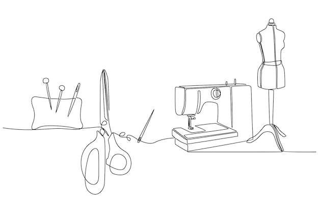 Ciągły rysunek linii ilustracji wektorowych kolekcji akcesoriów do szycia