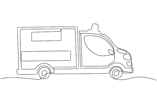 Ciągły rysunek linii ilustracji wektorowych samochodu pogotowia