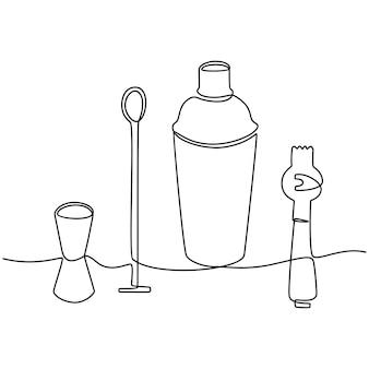 Ciągły rysunek linii ilustracji wektorowych sprzętu barmana