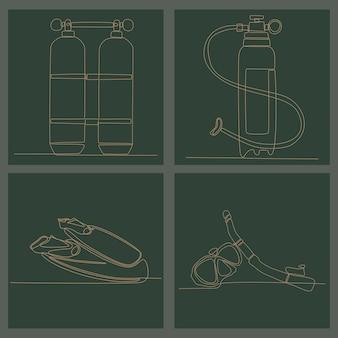 Ciągły rysunek linii ilustracji wektorowych sprzętu do nurkowania