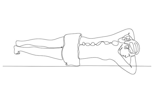 Ciągły rysunek linii kobiety w salonie spa robi ilustrację wektorową relaksacji