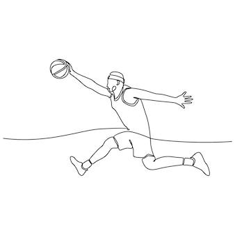 Ciągły rysunek linii męskiego profesjonalnego koszykarza wyizolowanego z koncepcją fitness z piłką