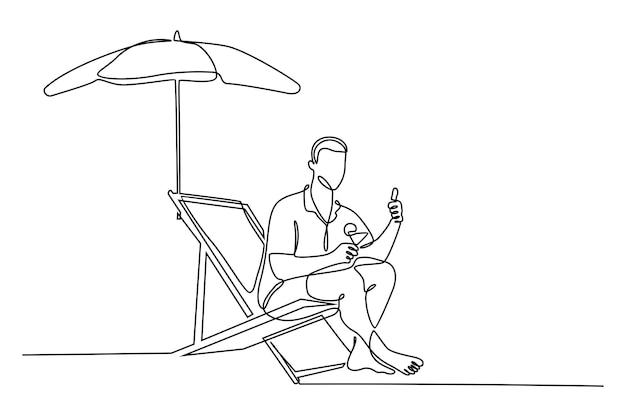 Ciągły rysunek linii mężczyzny pijącego koktajl i siedzącego pod parasolem na leżaku na białym tle