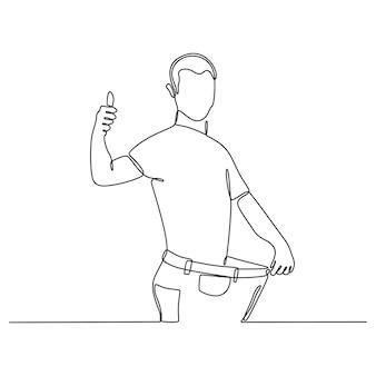Ciągły rysunek linii mężczyzny w dżinsach na ilustracji wektorowych udanej diety