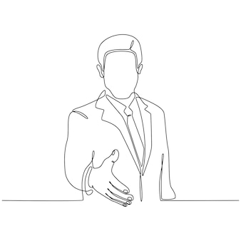 Ciągły rysunek linii mężczyzny wyciągającego rękę do ilustracji wektorowych transakcji