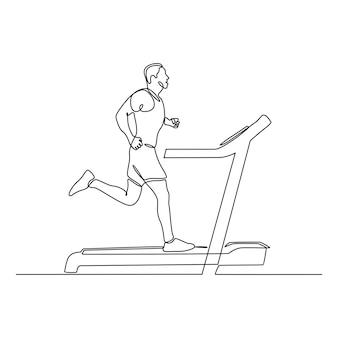Ciągły rysunek linii młodego mężczyzny biegnącego na ilustracji wektorowych bieżni