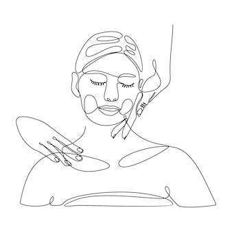 Ciągły rysunek linii pięknej kobiety robi relaksujący masaż ilustracji wektorowych