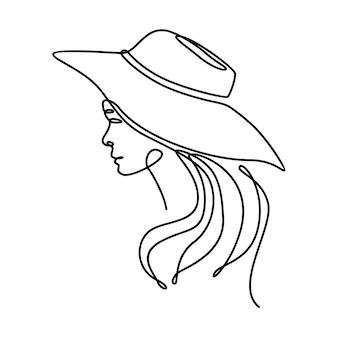 Ciągły rysunek linii pięknej twarzy kobiety w kapeluszu plażowym ilustracji wektorowych