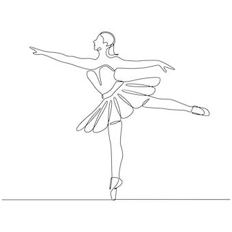 Ciągły rysunek linii profesjonalnej tancerki baleriny w ilustracji wektorowych spódnicy tutu