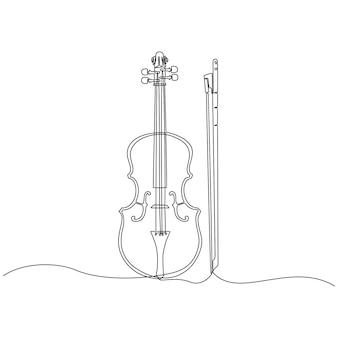 Ciągły rysunek linii skrzypcowych ilustracji wektorowych instrumentów muzycznych