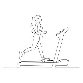Ciągły rysunek młodej kobiety biegnącej na ilustracji wektorowych na bieżni