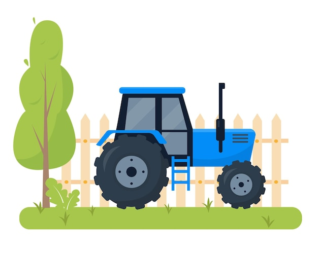 Ciągnik Rolniczy. Maszyny Rolnicze Dla Rolników Pracują. Premium Wektorów