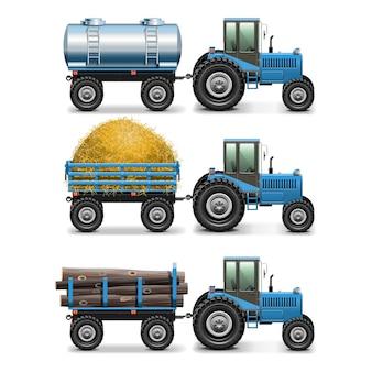 Ciągnik rolniczy zestaw 4 na białym tle