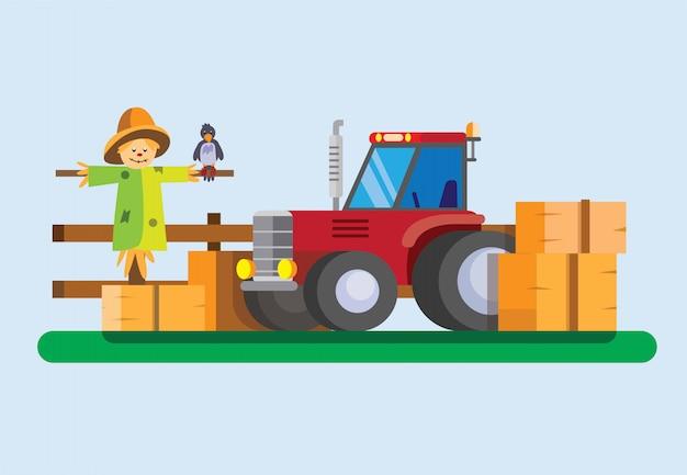 Ciągnik, strach na wróble i haystack przy rolną wioską, żniwo sezonu kreskówki płaska ilustracja