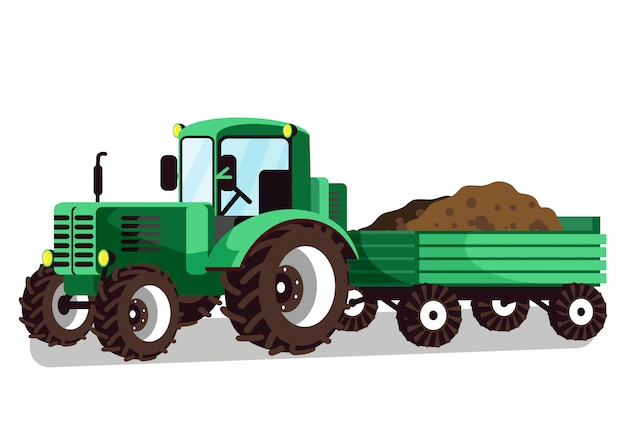 Ciągnik z wózek załączenia ilustracji wektorowych