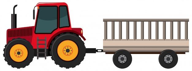 Ciągnikowy ciągnięcie furgon na białym tle