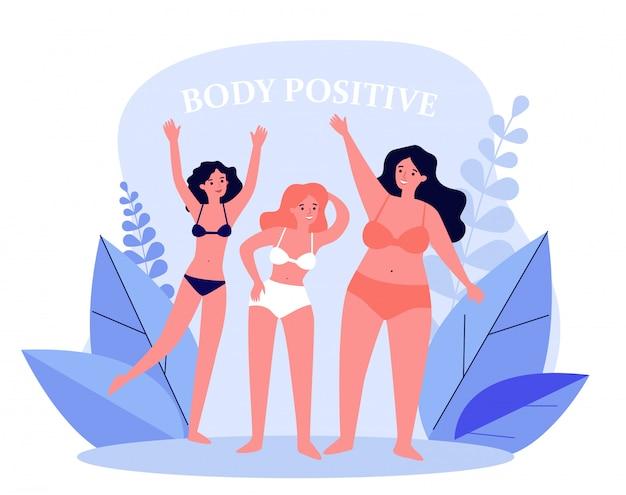 Ciało pozytywne kobiece postacie w bikini macha rękami