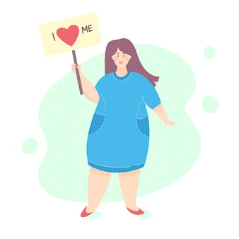 Ciało pozytywne kobieta. kochaj siebie koncepcja