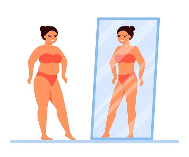 Ciało Pozytywne. Szczęśliwa Kobieta Z Nadwagą W Bieliźnie Patrzy Na Siebie W Lustrze. Premium Wektorów