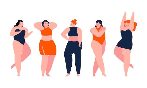 Ciało pozytywne - szczęśliwe dziewczyny podziwiają swoje ciała. kochaj siebie. kocham twoje ciało