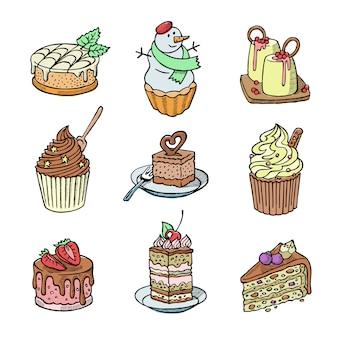 Ciasta i babeczki kawałek sernika na przyjęcie urodzinowe upieczone ciasto czekoladowe i deser bałwana z piekarni zestaw ilustracji na białym tle