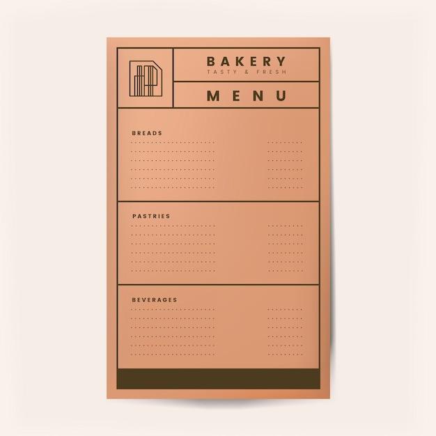 Ciasta i napoje menu szablon wektor