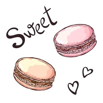 Ciasta makaroniki ręcznie rysowane ilustracja odosobniony