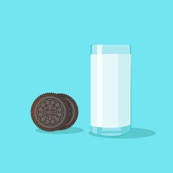 Ciasteczka ciemnej czekolady i szklankę mleka na jasnoniebieskim tle