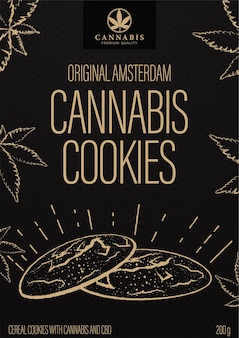 Ciasteczka konopne, czarny projekt opakowania w stylu doodle z ciasteczkami konopnymi i liśćmi marihuany.