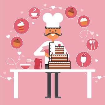Ciasteczko i ciasta pojęcia tło