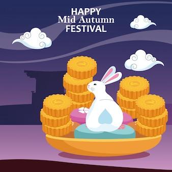 Ciastka księżycowe i królik, wesołego festiwalu połowy jesieni